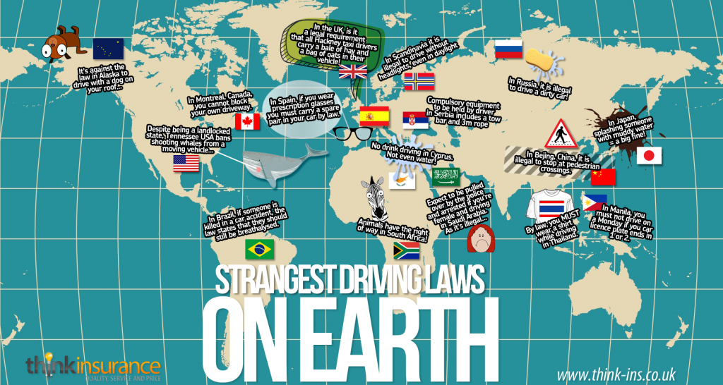 strangest driving laws on earth infographic